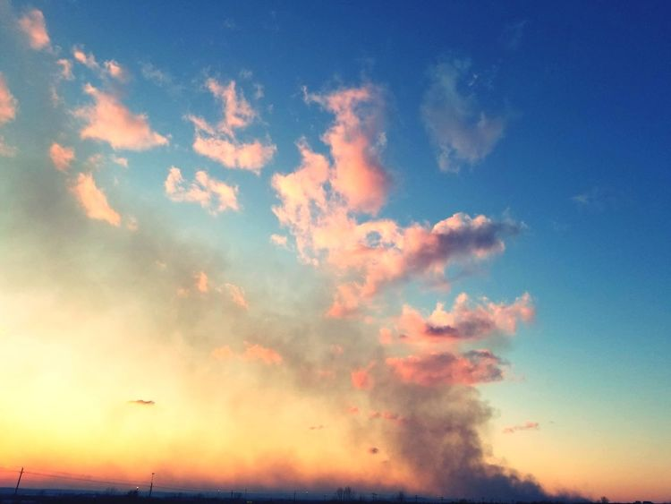 Set on fire Multi Colored Sunset Beauty Blue Backgrounds Saturated Color Red Sunlight Pastel Colored Summer Sky Only Fluffy Cirrus Wispy Stratosphere Calm Romantic Sky Atmospheric Mood Forked Lightning Meteorology Heaven Cloudscape Cumulus Cumulus Cloud
