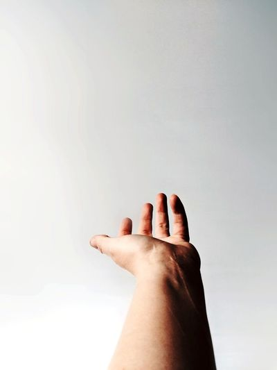 Cropped hand against white background