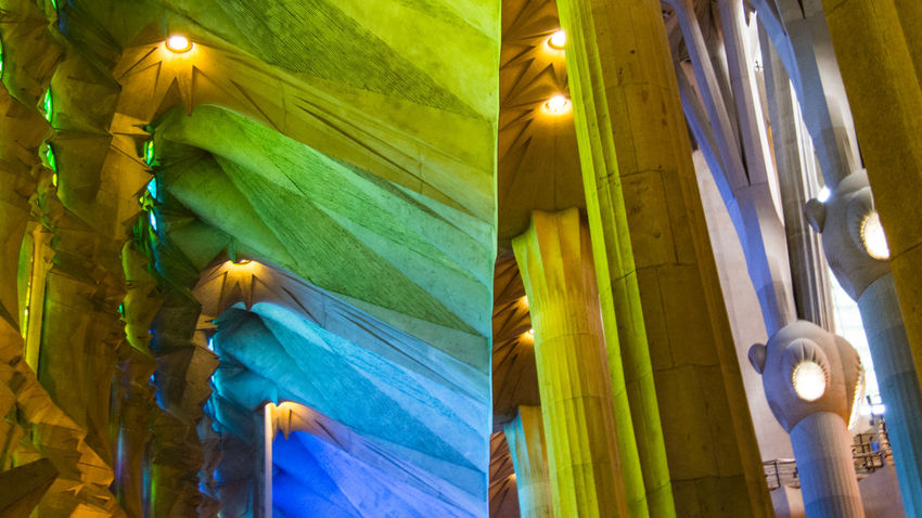 Blue Close-up Colorful Colorplay Colors Day Glass Stained Window Green Green Color Illuminated Low Angle View No People Rainbow Sky Statue Textile