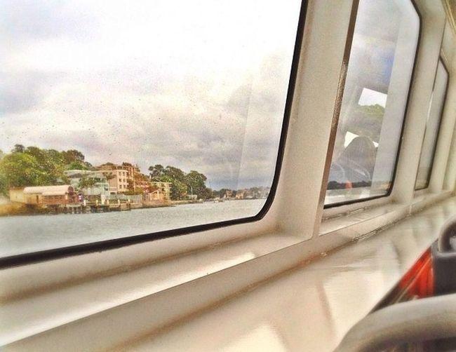 View of city seen through train window