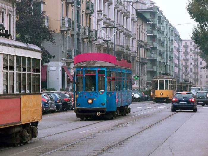 Tram tram tram tram Building Exterior City City Life City Street Cityscape Day Milan Milan Tram No People Outdoors Public Transport Public Transportation Street Tram Tram 1 Transport