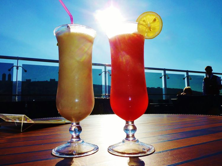 Ready for summer EyeEm Gallery The Essence Of Summer Food Drinks Cocktails Cocktail Hour Sunshine Sunny Day Outside Enjoying Life Longdrink White And Red Sunrays Delicious Blue Sky Sundeck Cruise Ship Two Is Better Than One Sommergefühle