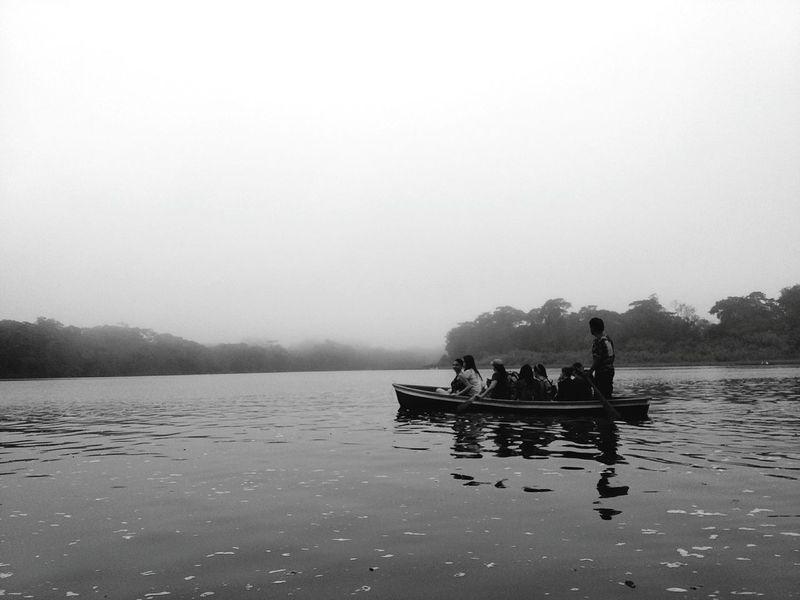 Cloudy River Boat Blackandwhite Costa Rica