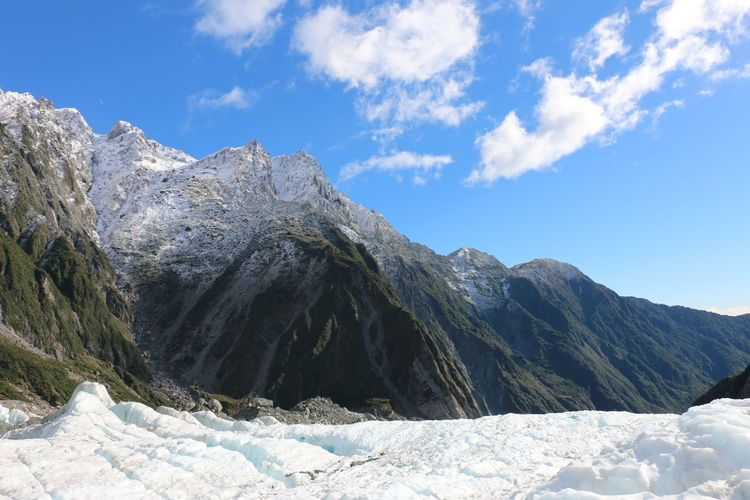 The view from the Franz Josef Glacier is incredible Snow Mountain Winter Cold Temperature Nature Mountain Range Beauty In Nature Day Outdoors Pinaceae Cloud - Sky Landscape No People Sky Pine Tree Scenics Tree Frozen Forest Blue The Great Outdoors - 2017 EyeEm Awards