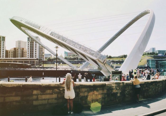Millenium Bridge Newcastle Upon Tyne Quayside Bridge River Sun