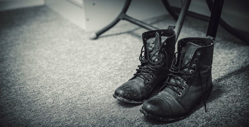 Boots Shoes Black And White Wide Screen Close Up Subject Low Angle View Dirty Details Blackandwhite Photography Blackandwhite EyeEm Best Shots Cinematic Feel The Journey On The Way