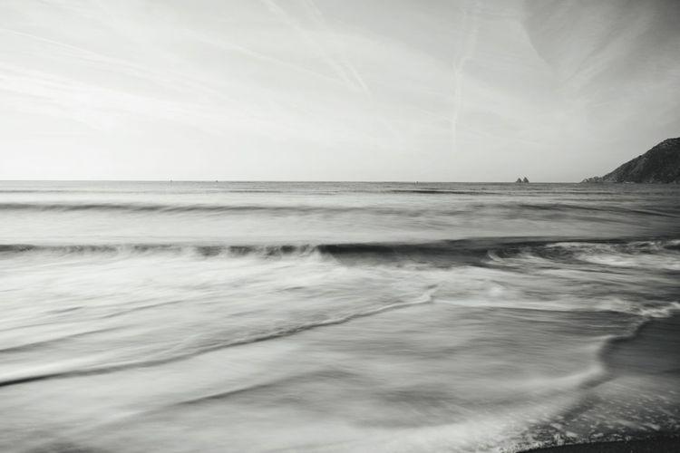 Monochrome Long Exposure Water Wave Sea Beach Sand Sky Horizon Over Water Landscape Seascape Coastline
