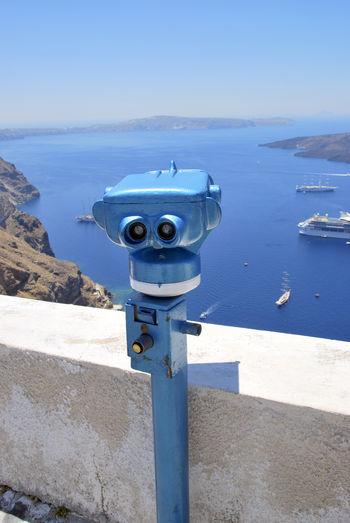 Santorini, Greece Beauty In Nature Binoculars Coast Coin Operated Coin-operated Binoculars Cruise Day Liner Nature Outdoors Santorini Scenics - Nature Sea Security Surveillance Tourism Tranquil Scene Viewfinder Volcanic Crater Water