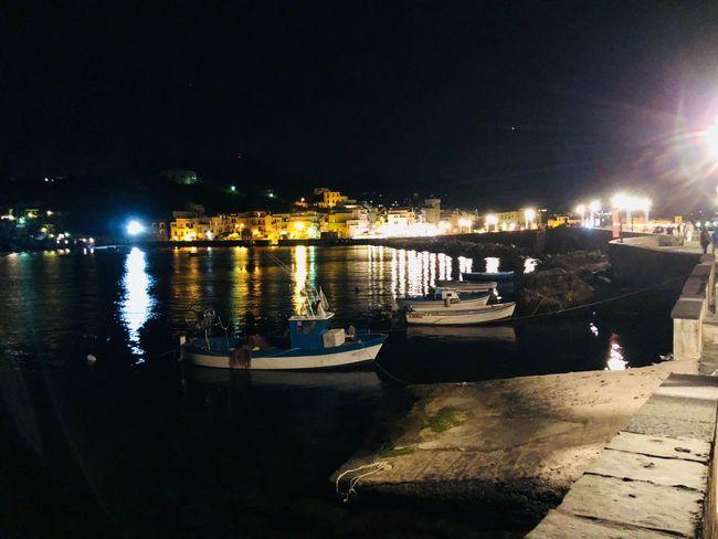 Night Water Nautical Vessel Illuminated Reflection Transportation Architecture No People Harbor Port Nature
