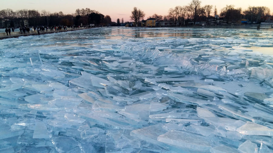 View of frozen lake during winter