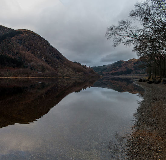 Looking up Loch Lubnaig on a cloudy morning. Beauty In Nature Lake Landscape Loch  Loch Lubnaig Mountain Nature Outdoors Reflection Scotland Water