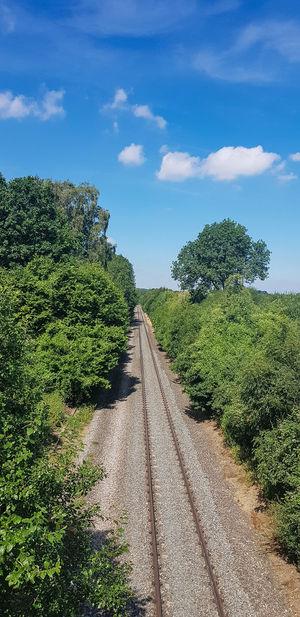 Summer Views Train Track Trainspotting Railway Track Railway Bridge English Countryside Tree Shadow Sky Cloud - Sky