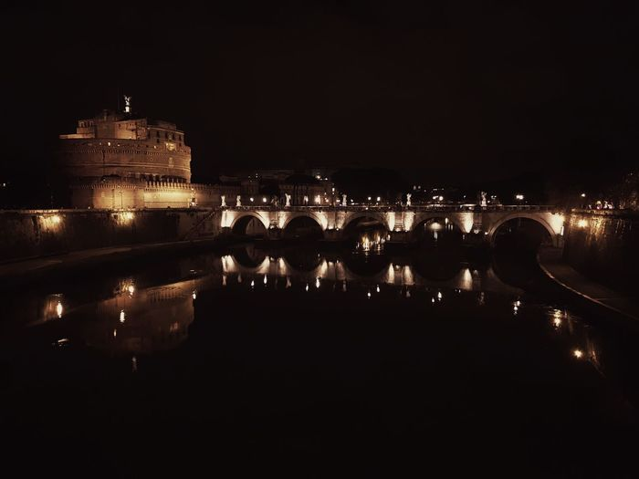 Illuminated Night Reflection Architecture Water Built Structure Bridge - Man Made Structure River Building Exterior Dark Calm Sky History Rome Italy🇮🇹 Angel Castle Castle Sant'angelo Rome Overnight Success