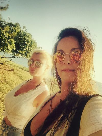 Hello World Hot Day Summertime Sunny Day Seaside Blacksea Blonde And Brunette Tree Sunglasses Enjoying Life Enjoying The Sun Beauty Girls Friends ❤