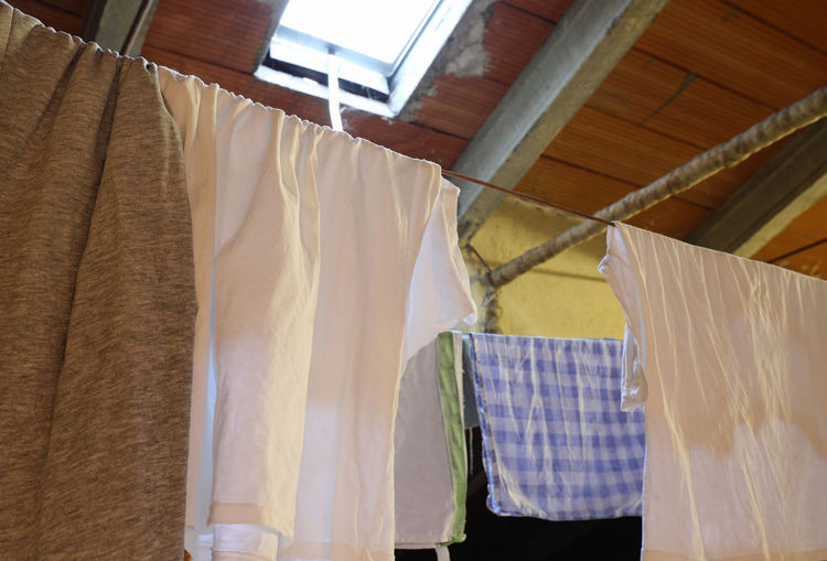 Low angle view of clothes drying