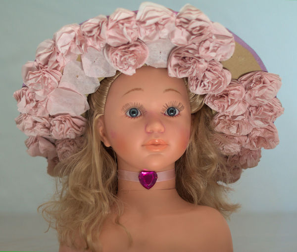 Beauty Doll Front View Hat HEAD Portrait Studio Shot Toys White Background