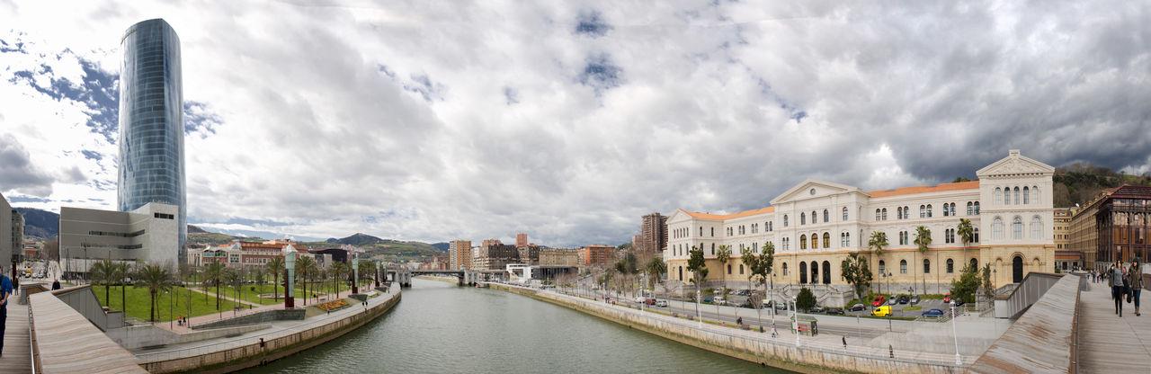 Bilbao City Cloudy Deusto Estuary Nervion River Panorama Panoramic River Skyscraper University