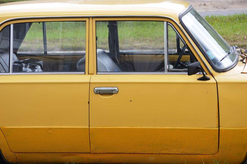 View of yellow car window