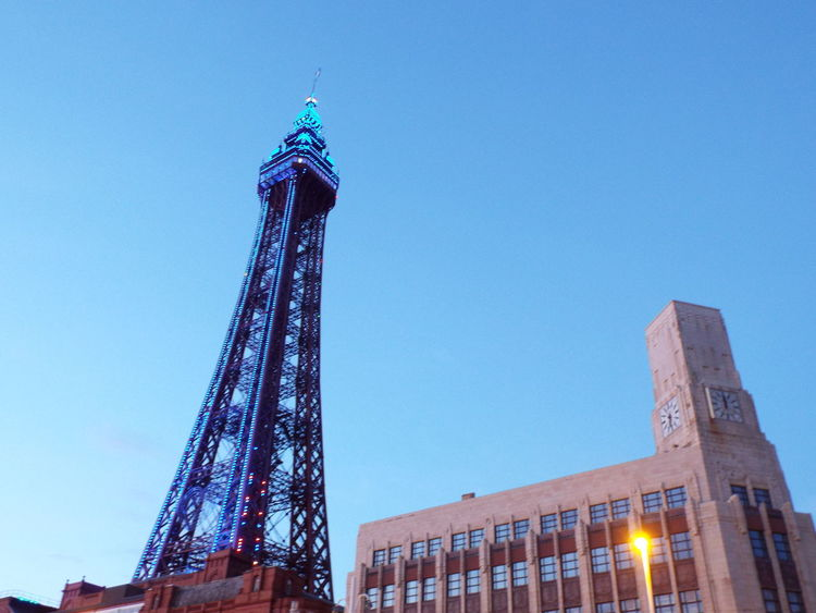 Night Lights Blue Lights On Blackpool Tower Blue Lights  Blackpool Tower The Essence Of Summer Summer2016 Summertime Summer Tourist Attraction  Tourism Late Evening Clock Tower Clock Face
