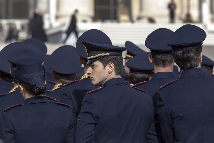 Rome, Italy - April 30, 2016: Policemen in uniform in St. Peter's Square, during the general audience of the Pope, on the occasion of the Jubilee of the armed forces. Day From Behind Giubileo2016 Lifestyles People Policeman The Shoulders Uniforms