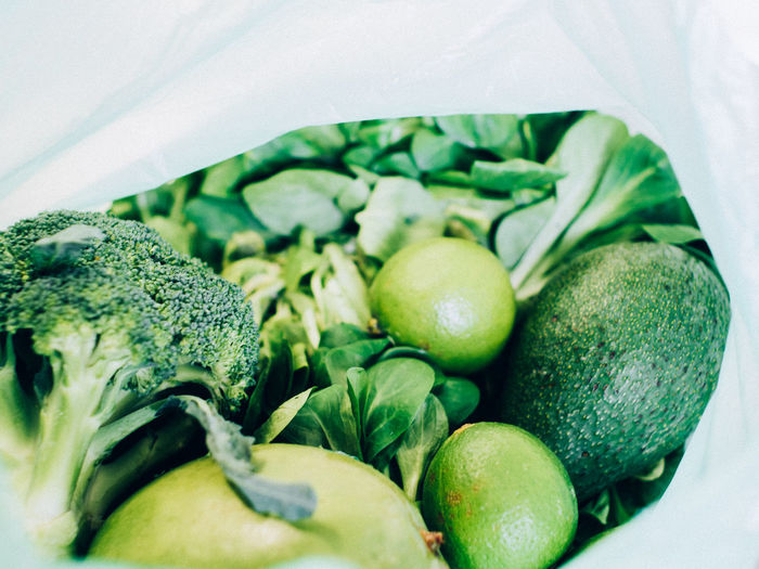 Close-up of vegetables in plastic bag