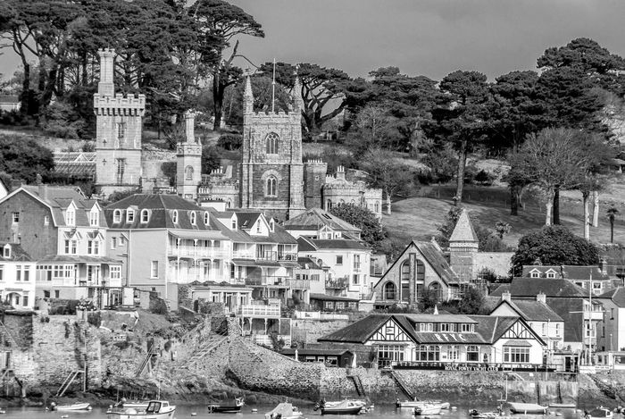 Fowey Church from Polruan, Cornwall Black And White Cornwall Architecture Chuches