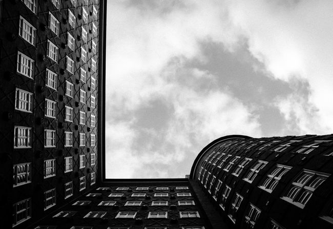 shapes& rounds... 90° Angel Architecture Architecture_bw Architecture_collection Building Building Exterior Day Directly Below Eye4photography  Geometry Hamburg High Angle View High Section Kontorhausviertel No People Open Edit Rounds Sky Sky And Clouds Skyporn Sprinkenhof Tall - High The Architect - 2016 EyeEm Awards Urban Geometry