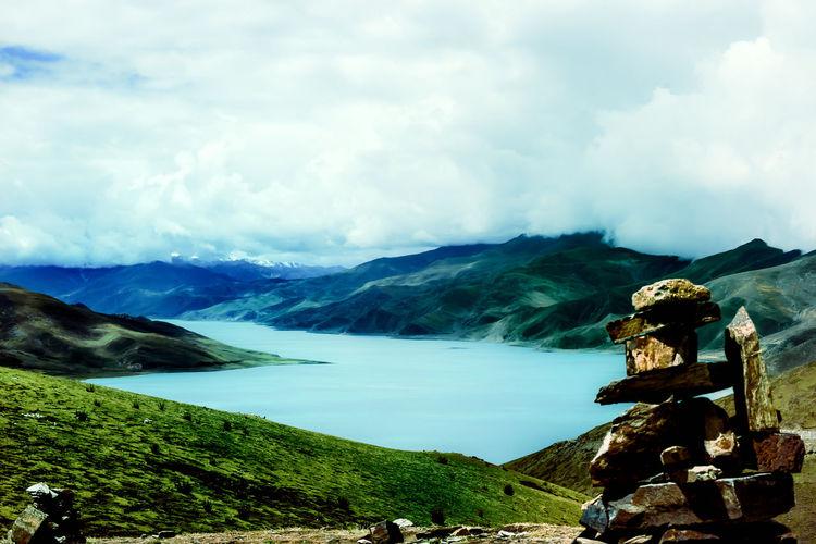 Blackandwhite Beauty In Nature Lake Lake View Lakeside Landscape Mountain No People Outdoors Scenics Sky Sunlakes Tibet Tibet Travel Tibetan Buddhism Tibetan Culture EyeEm x Canon - Feel the journey