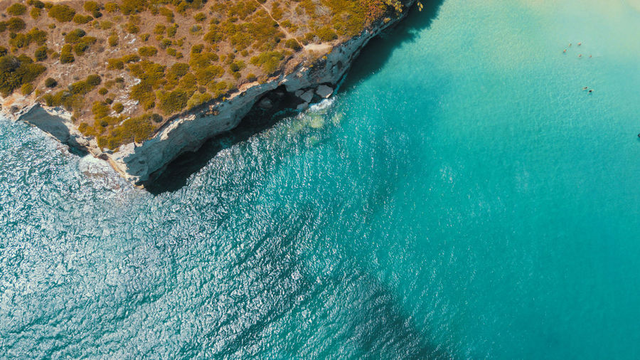 High angle view of sea from drone