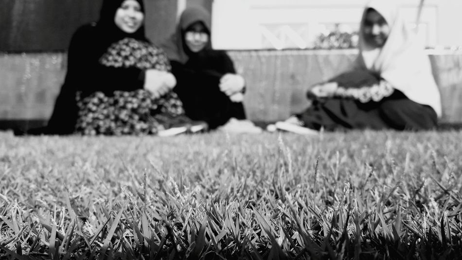 Monochrome Photography Grass Full Length Field Person Green Color Grassy Friendship Day Togetherness Focus On Foreground Growth Outdoors In Front Of