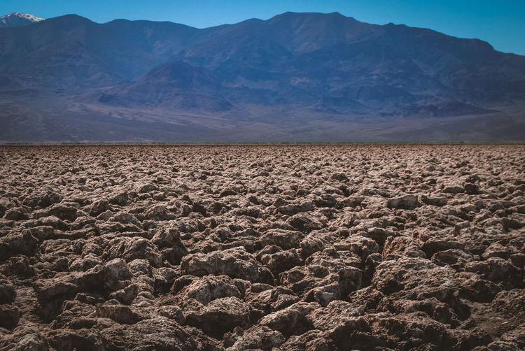 Scenic view of desert against mountain range