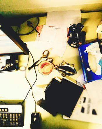 Desks From Above Clutter Messy Desk