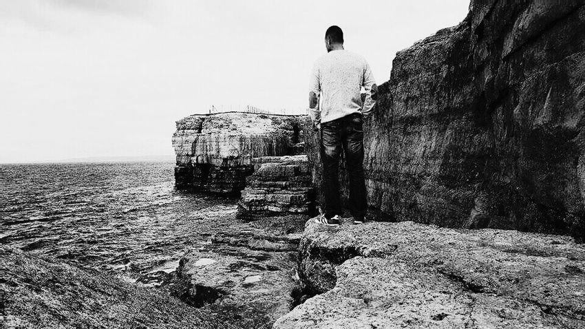 Coastline Rocks And Water Sea And Sky Blackandwhite Myself Calmness Relaxing Adventures England 🌹 Outdoors Tranquility Weymouth Dorset Freshness Seascape Natural Beauty Traveling Htc One M8