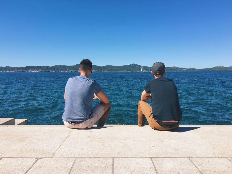 Water Sitting Clear Sky Bonding Copy Space Friendship Rear View Men Zadar Croatia