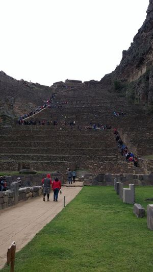 Climbing the Steps to the Top of the Fortress of Ollantaytambo ruins, Peru Inca Ollantaytambo Peru Ruins Ancient Civilization Architecture Beauty In Nature Built Structure Clear Sky Day Fortress Of Ollantaytambo Grass History Landscape Large Group Of People Leisure Activity Lifestyles Men Mixed Age Range Mountain Nature Outdoors People Real People Scenics Sky Tourism Travel Travel Destination Travel Destinations Vacations Women