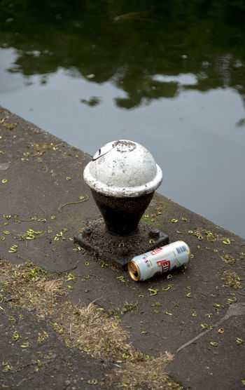 High angle view of cigarette in water
