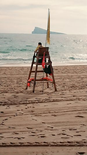 the #Lonely #Lifeguard on a empty #Beach Beach Sand Sea Horizon Over Water No People