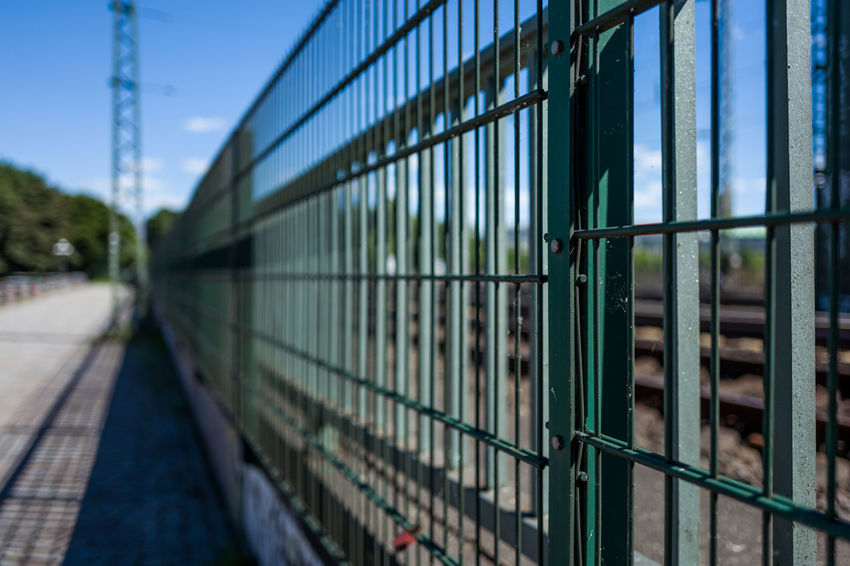 Hamburg fence Architecture Barrier Blue Boundary Built Structure Connection Day Fence Focus On Foreground Metal Nature No People Outdoors Protection Railing Safety Security Selective Focus Sky Transportation