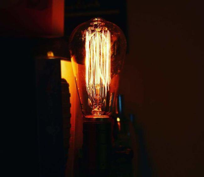 Filament Illuminated Light Bulb Electricity  Lighting Equipment Close-up