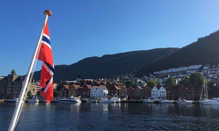 Scenic Flag Water Nautical Vessel Traveling Norway Scenics Architecture Outdoors Bergen Bergen,Norway Boat Boat Trip Norway Flag Norwegian Flag