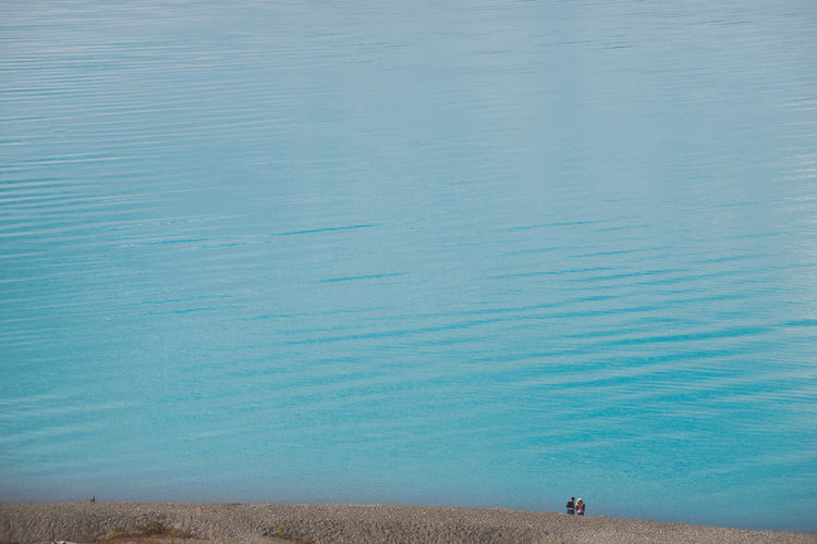 High angle view of lake pukaki
