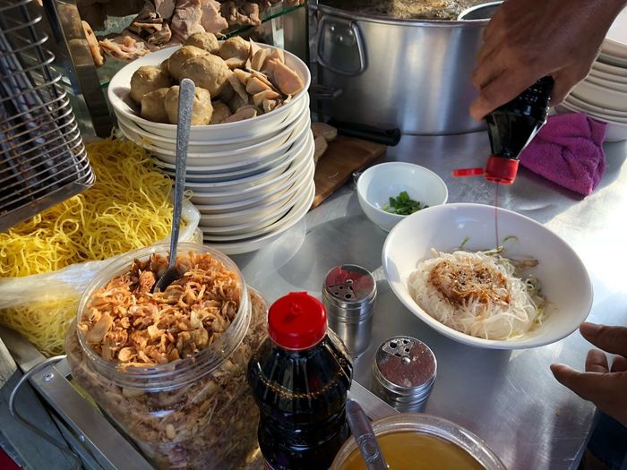 Kwayteew by the street Food And Drink Food Table High Angle View Freshness Container Still Life No People Healthy Eating Bowl Ready-to-eat