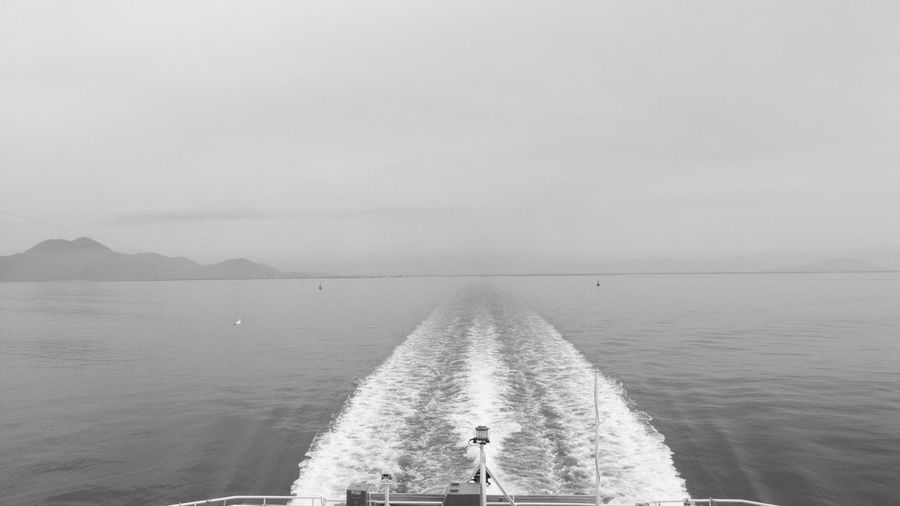 Wake Ferry Views Monochrome Tranquility Black And White Nature Horizon Over Water Bird Tranquil Scene Beauty In Nature Calm GR DIGITAL Ⅱ Scenics Sea Wake Water Clouds Sky Ferry Calm Sea Day Japan