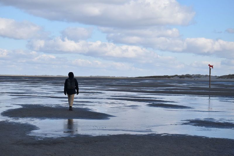 Rear View Of Person Walking At Beach