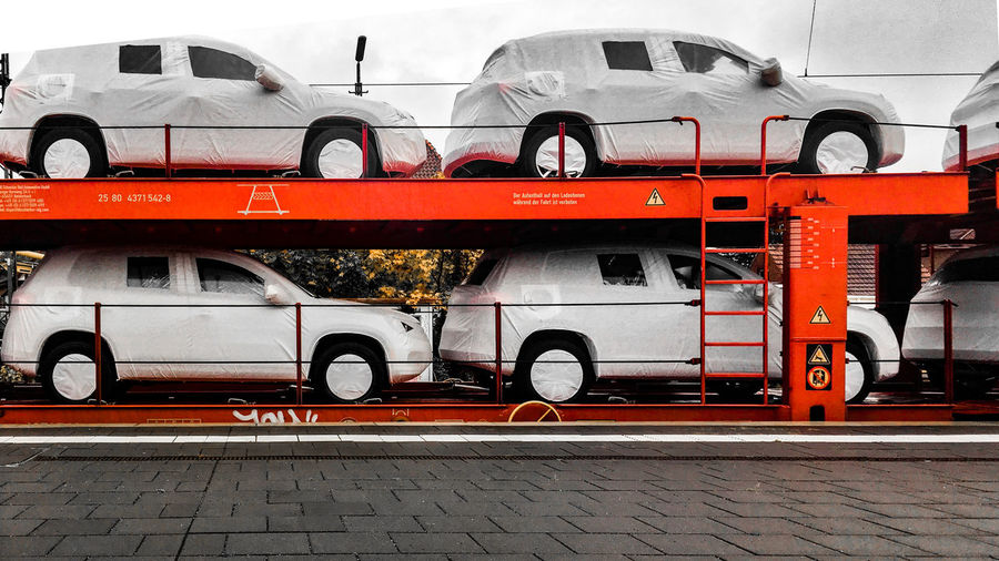 Red cars on bus