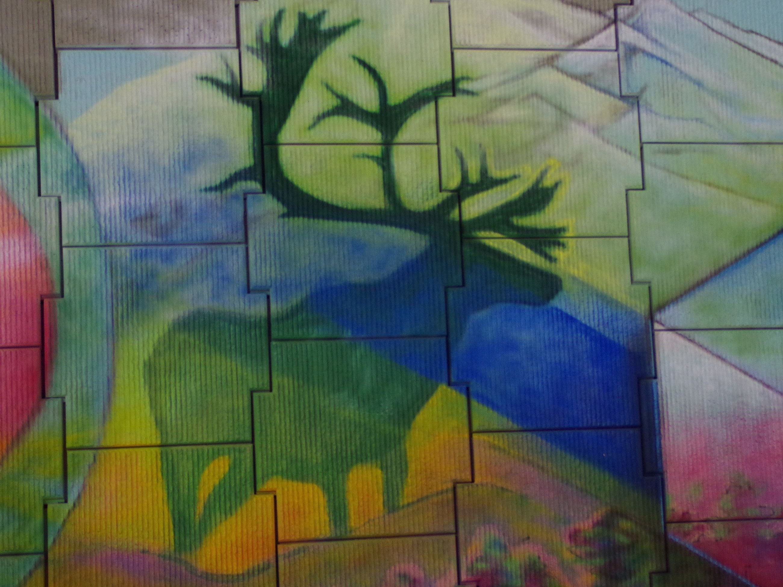 wall - building feature, indoors, pattern, built structure, architecture, multi colored, full frame, backgrounds, graffiti, art, creativity, wall, design, art and craft, green color, tile, no people, close-up, textured, building exterior
