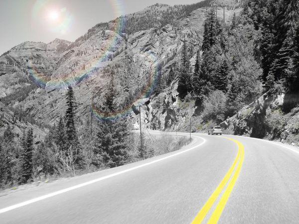 Mountains Ouray Silverton Colorado Million Dollar Highway Colorsplash Highway Paved Road Yellow Line Sunburst Simple First Eyeem Photo EyeEm Best Shots Eyeem Popular Photos EyeEm Best Edits