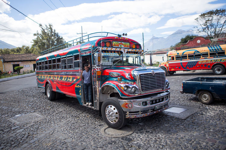 Chicken bus in Antigua, Guatemala. Antigua Guatemala Bus City Colour Colourful Guatemala Outdoors People Transportation Travel Travel Destinations Traveling