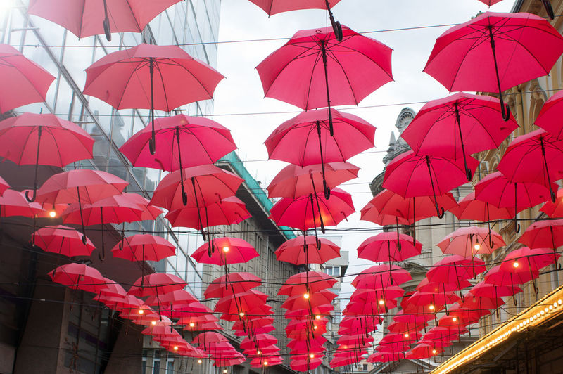 many red umbrellas hanging from wires Red Hanging Umbrella Decoration Protection No People Large Group Of Objects Celebration In A Row Side By Side Outdoors Many Open Parasol Urban Abstract Swinging Rain Weather Festival Concept Shade Fun String Abundance