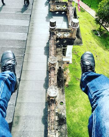 The heights Mr_Ragalai Human Leg Real People Shoe High Angle View One Person Personal Perspective Men Jeans Outdoors Leisure Activity Adult People Shadow Palace Of Culture Casual Clothing One Man Only Cloud - Sky Young Adult Sky One Young Man Only